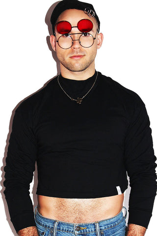 Mock Neck Long Sleeve Crop Tee- Black