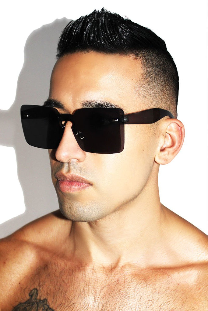 Frameless Square Sunglasses-Black