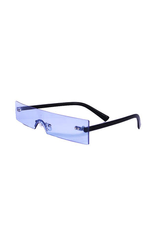 Solid Block Frameless Sunglasses- Blue