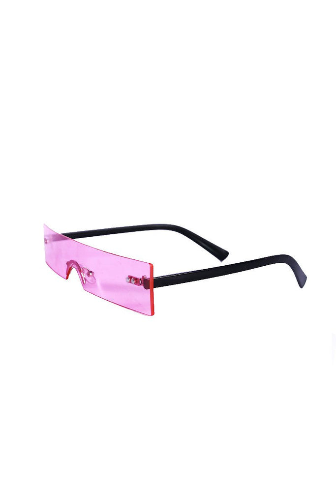 Solid Block Frameless Sunglasses- Pink