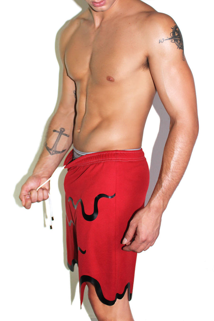 Blood Bath Athletic Shorts-Red