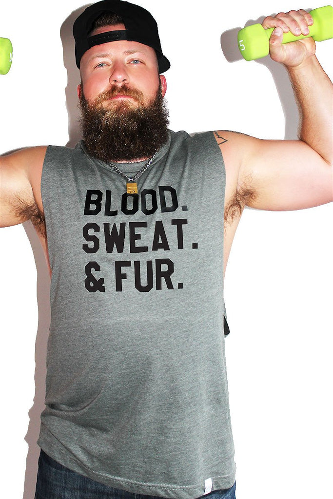 PLUS: Blood, Sweat and Fur Low Arm Tank-Charcoal