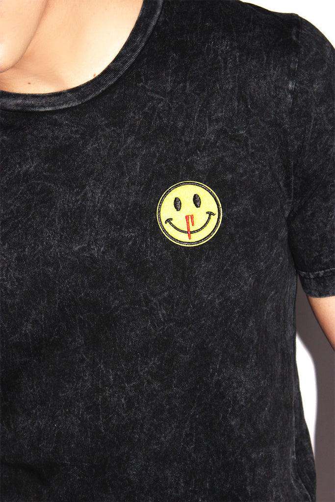 Bleeding Nose Acid Wash Tee-Black