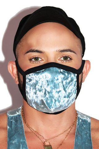 Icy Crushed Velvet Face Mask- Blue