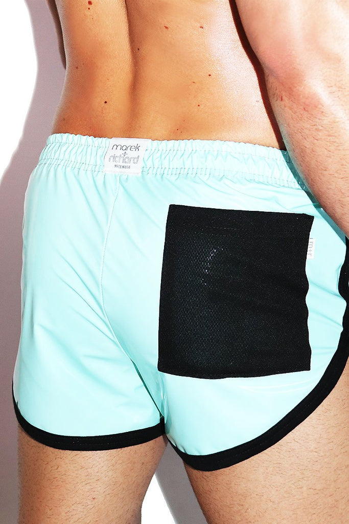 Pleather Running Shorts- Blue