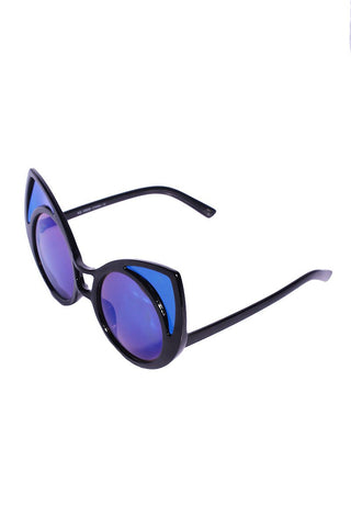 Metallic Cat Eye Sunglasses-Blue