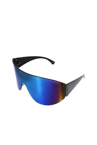 Frameless Large Shield Sunglasses-Blue