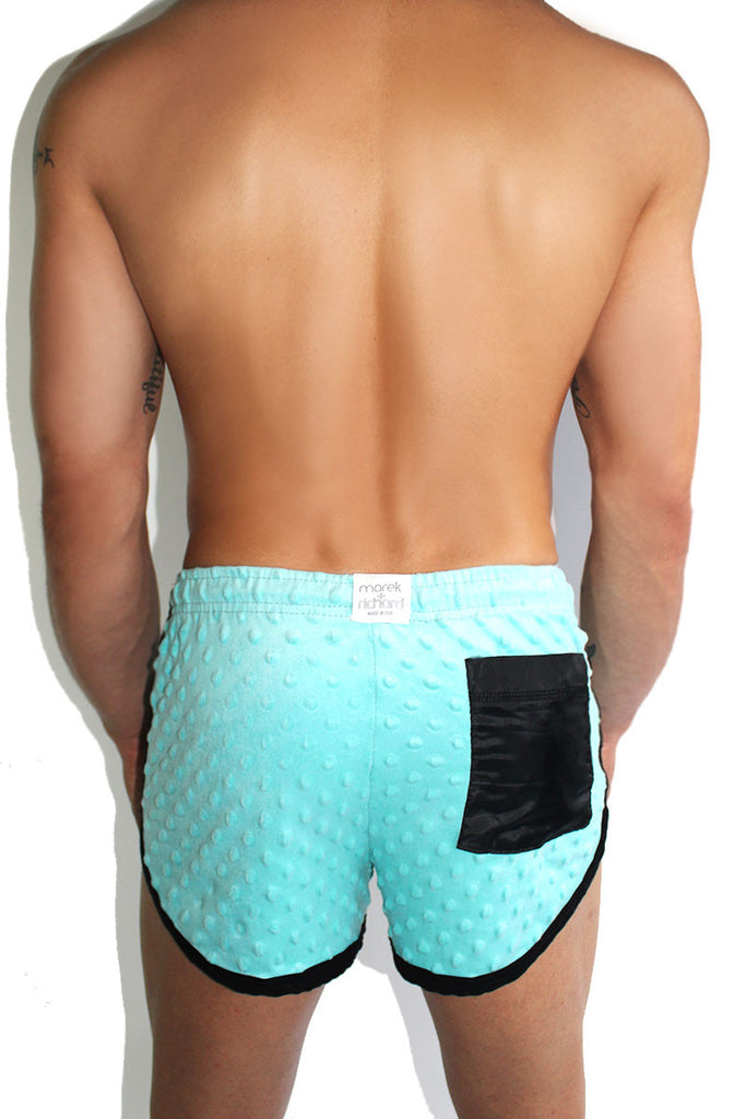 Dotted Candy Embossed Running Shorts-Blue