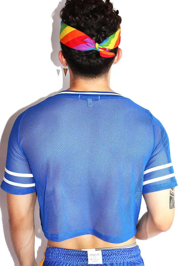 Pride Rainbow Mesh Football Crop Tee-Blue