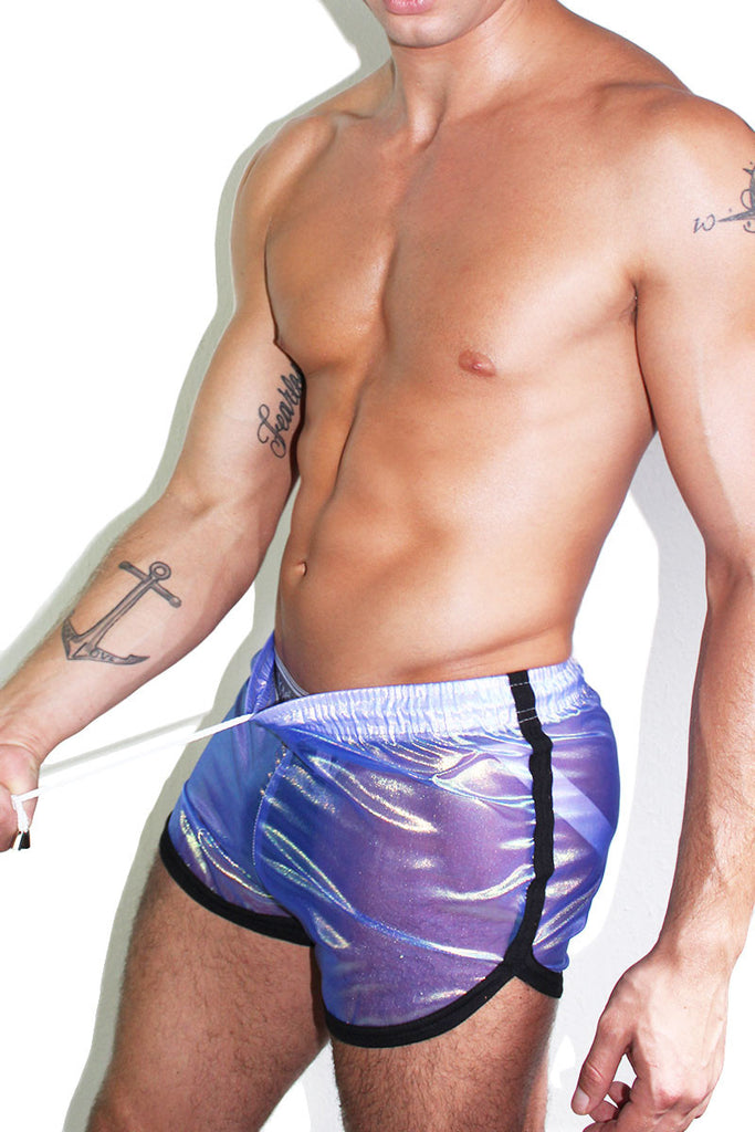 Iridescent Running Shorts- Blue