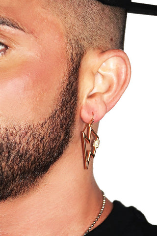 Electricity Bolt Single Earring- Gold
