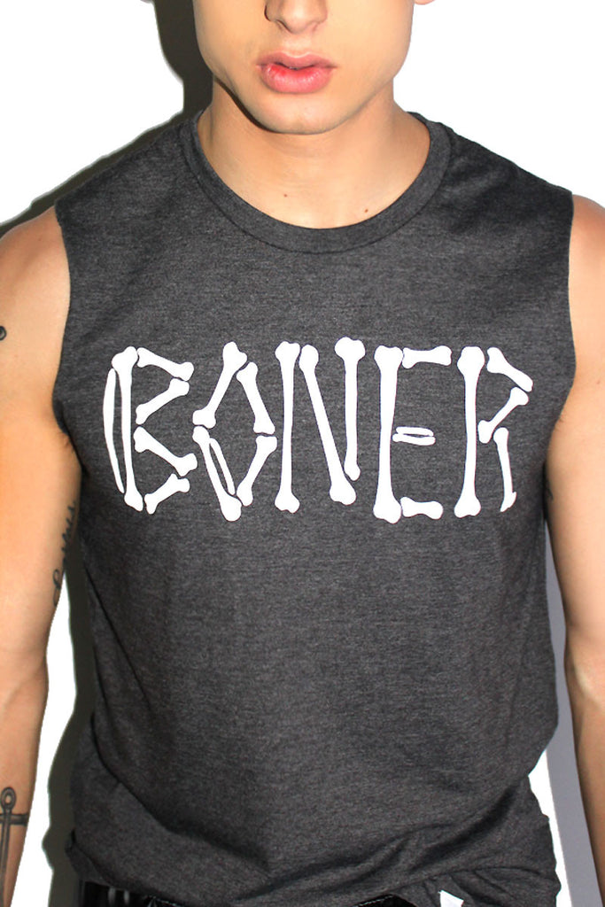Boner Sleeveless Tee- Dark Charcoal