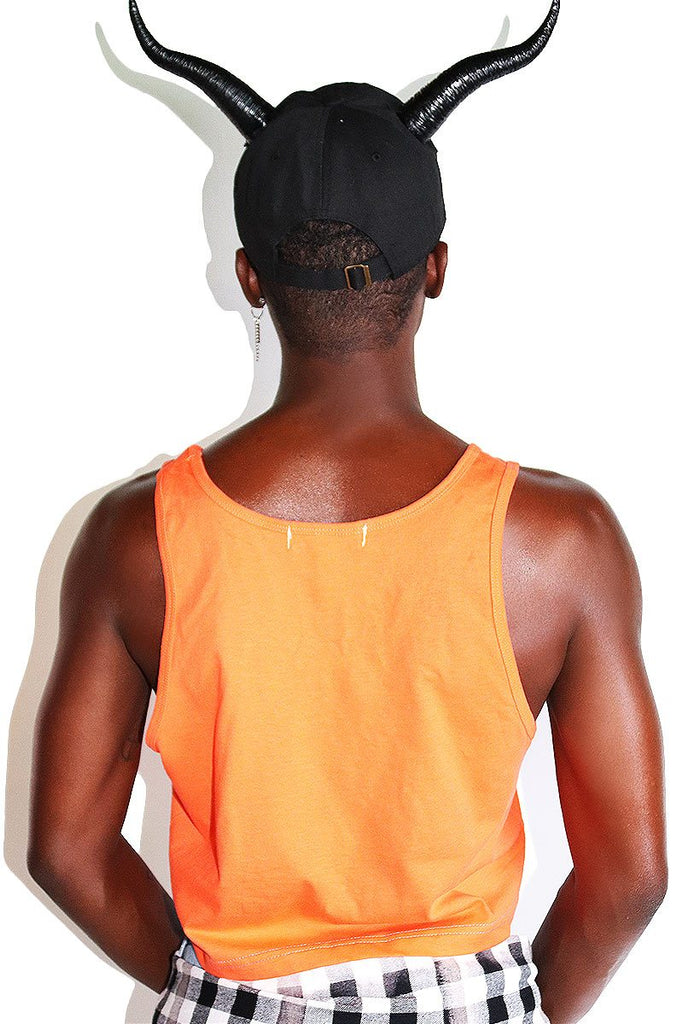 Boo You Whore Crop Racerback Tank-Orange