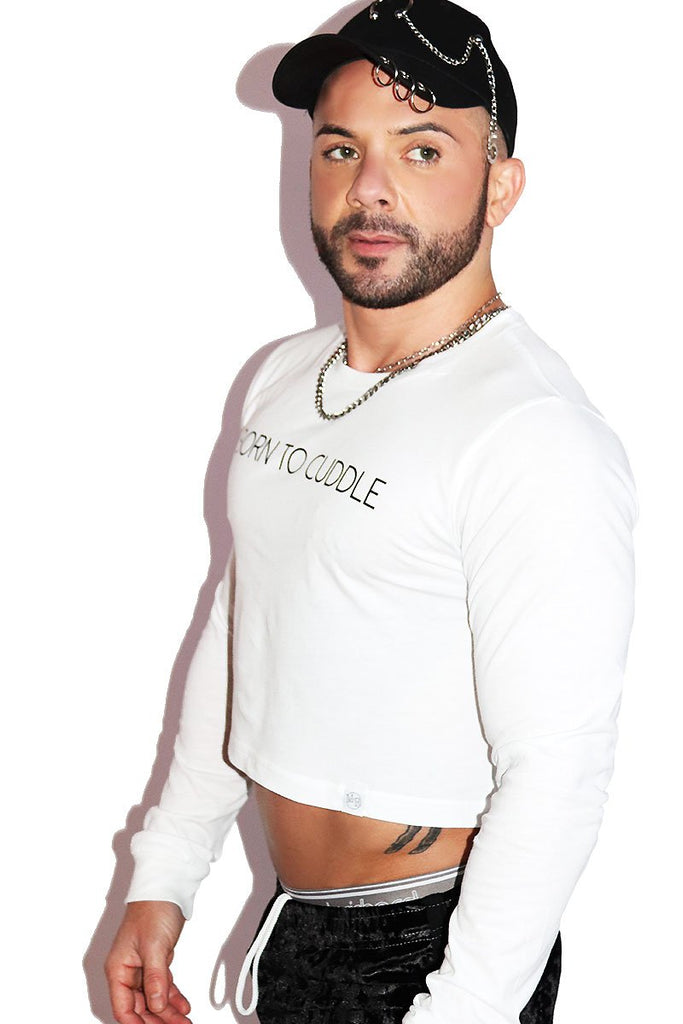Born To Cuddle Long Sleeve Crop Tee- White