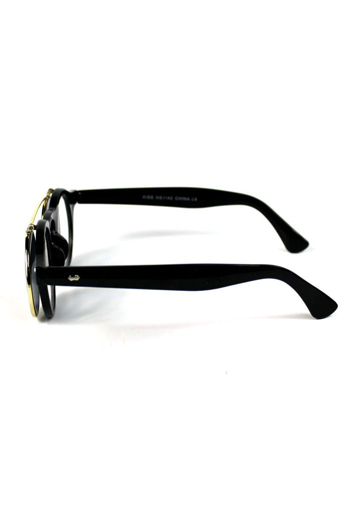 Boston Black Rim Flip Up Sunglasses-Black
