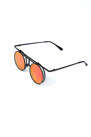 Boston Black Rim Mirror Flip Up Sunglasses- Orange