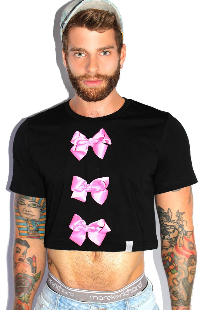 Frills and Thrills Bow Crop Tee-Black