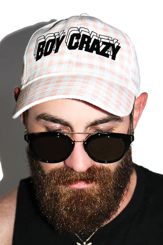 Boy Crazy Dad Hat- Pink Plaid