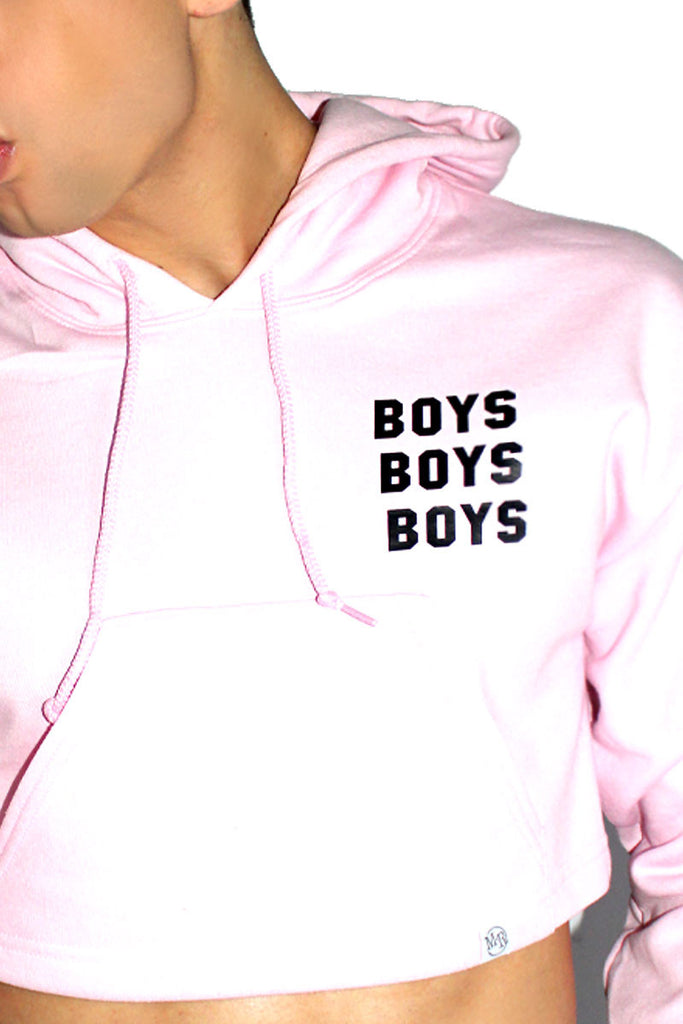 Boy Crazy Crop Long Sleeve Hoodie-Pink