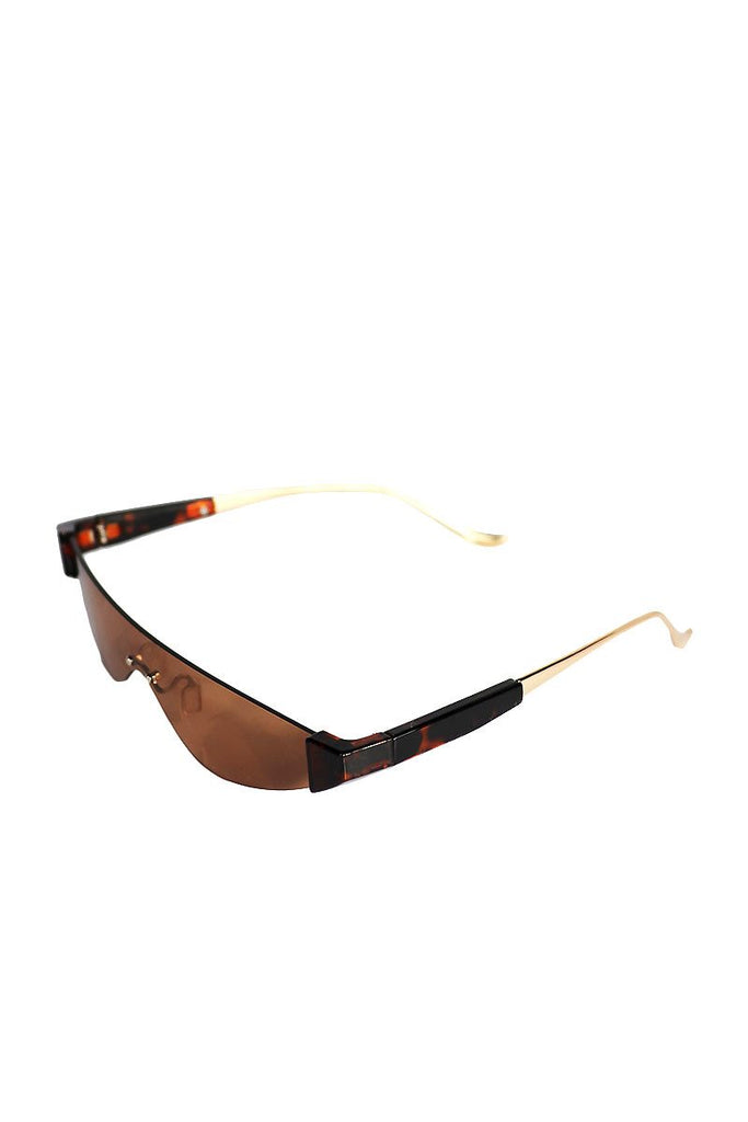 Frameless Cat Eye Mini Shades-Brown