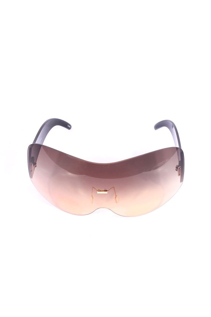 Large Shield Duty Sunglasses-Brown