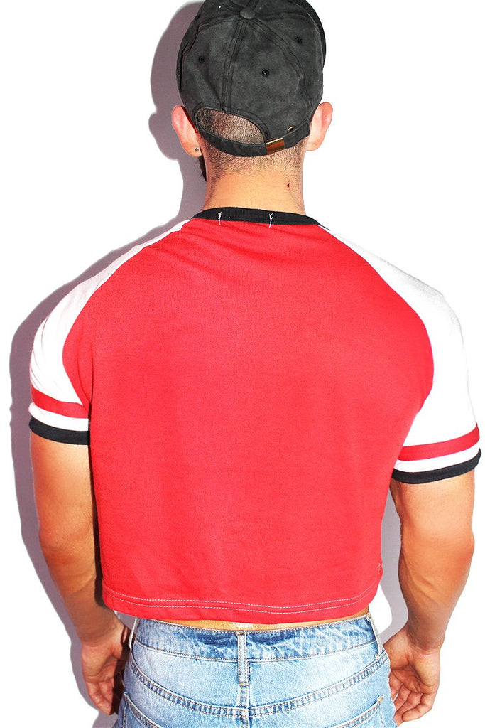 Bottom Power Raglan Crop Tee-Red
