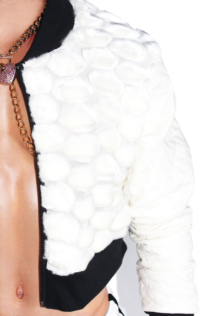 Bubble Fur Crop Bomber Jacket-Cream