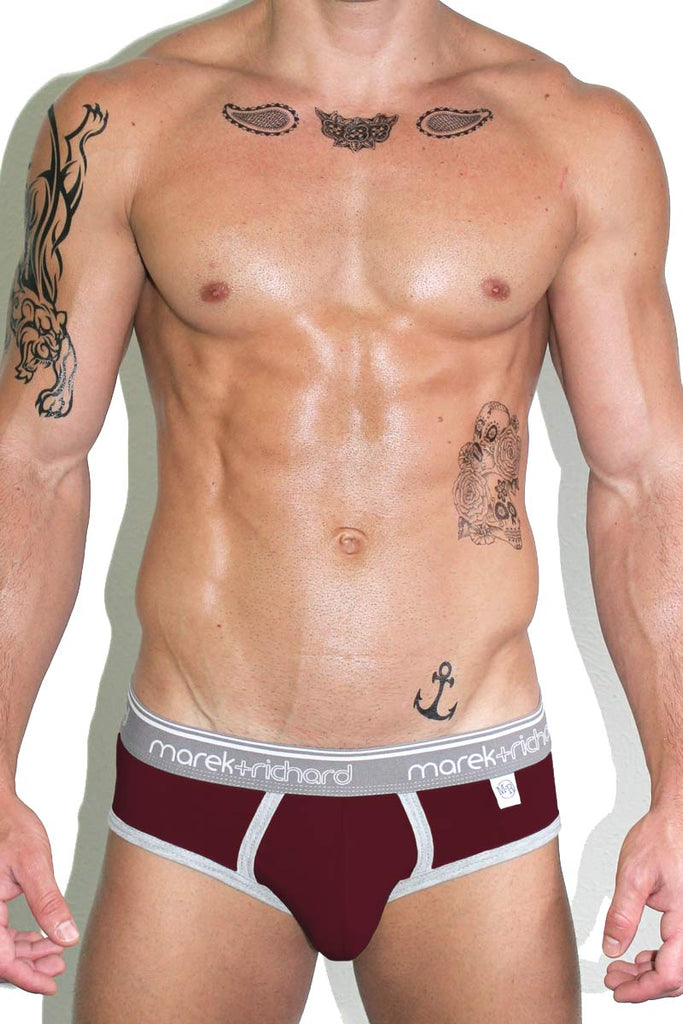 Core Open Back Brief-Burgandy