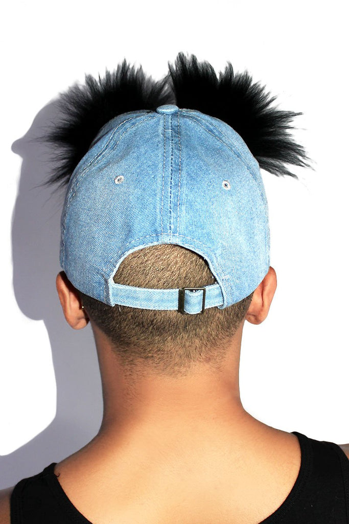Eyebrows on Fleak Dad Hat-Denim