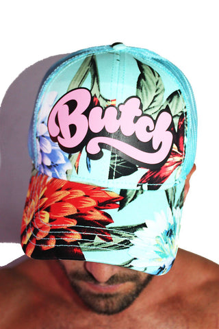 Butch Tropical Floral Trucker Hat-Blue