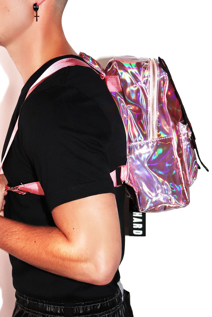 Butterfly Holographic Backpack- Pink