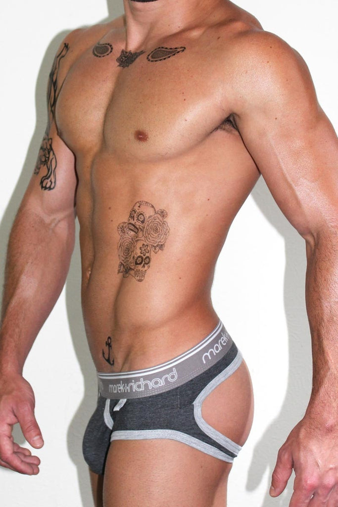 Core Open Back Brief-Charcoal