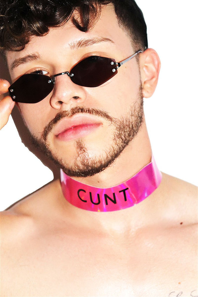 Cunt Thick Vinyl Holographic Choker-Pink