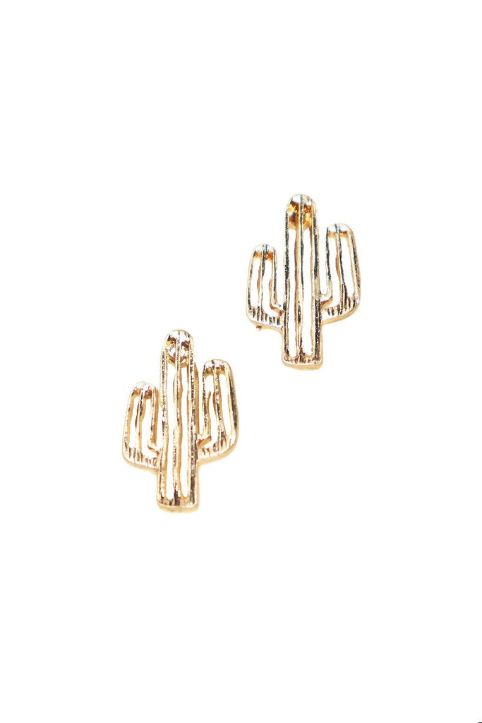 Cactus Single Earrings-Gold
