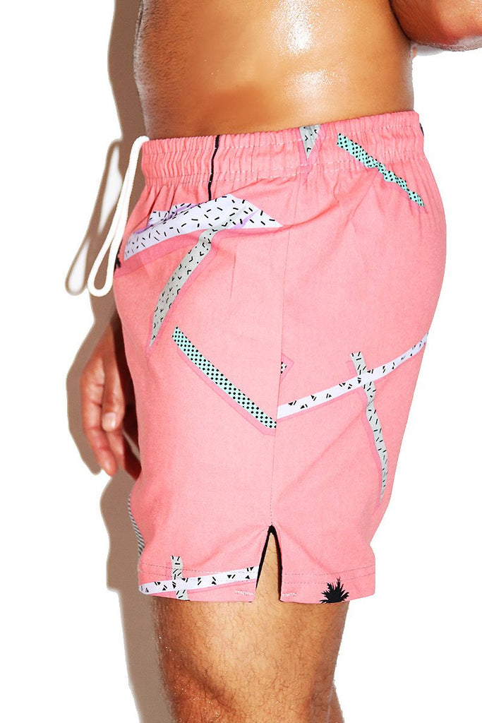 Cali Sunset Cotton Athletic Shorts- Pink