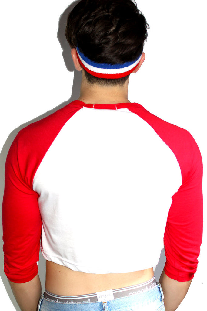 Camp Wannafuck Raglan Crop Tee-Red