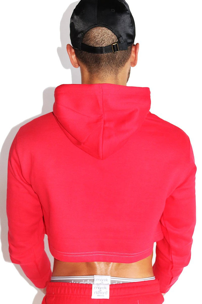 XXX Candy Cane Long Sleeve Crop Hoodie- Red
