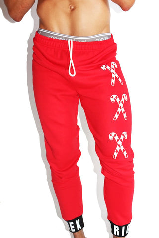 XXX Candy Cane Sweatpants- Red