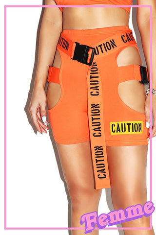 Caution Belted Buckle Biker Shorts- Orange