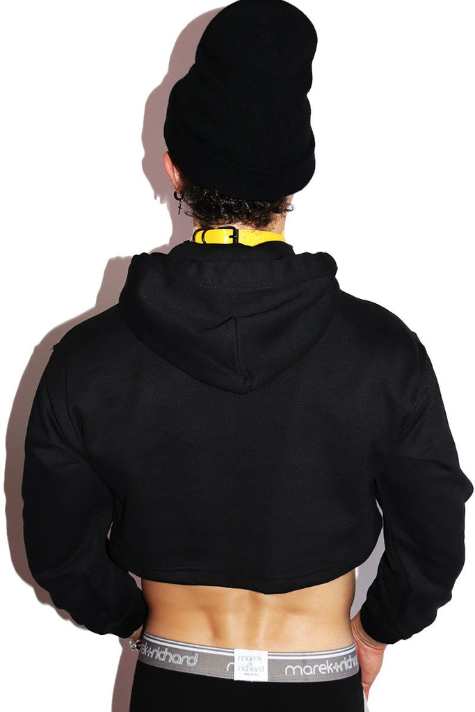 Caution Long Sleeve Hoodie- Black