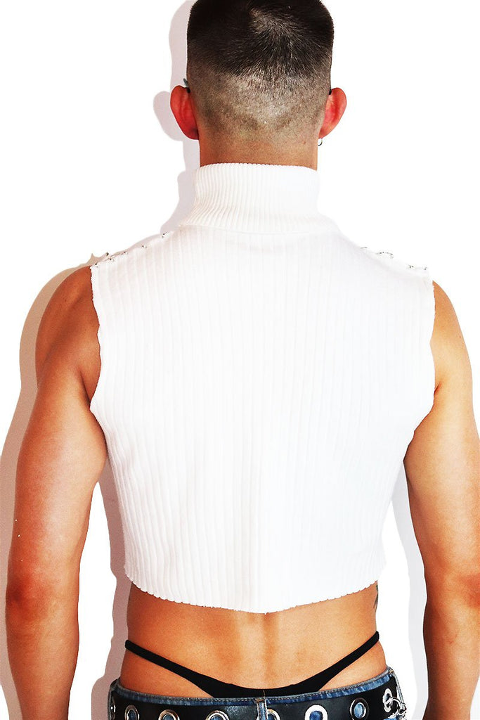 Pierced Cable Knit Sleeveless Turtleneck- White