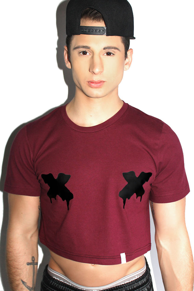 Censored Crop Tee- Burgandy