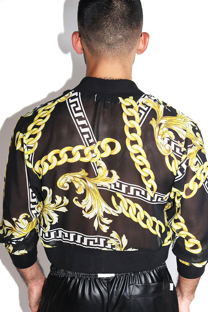 Miami Chain Crop Bomber Jacket-Black