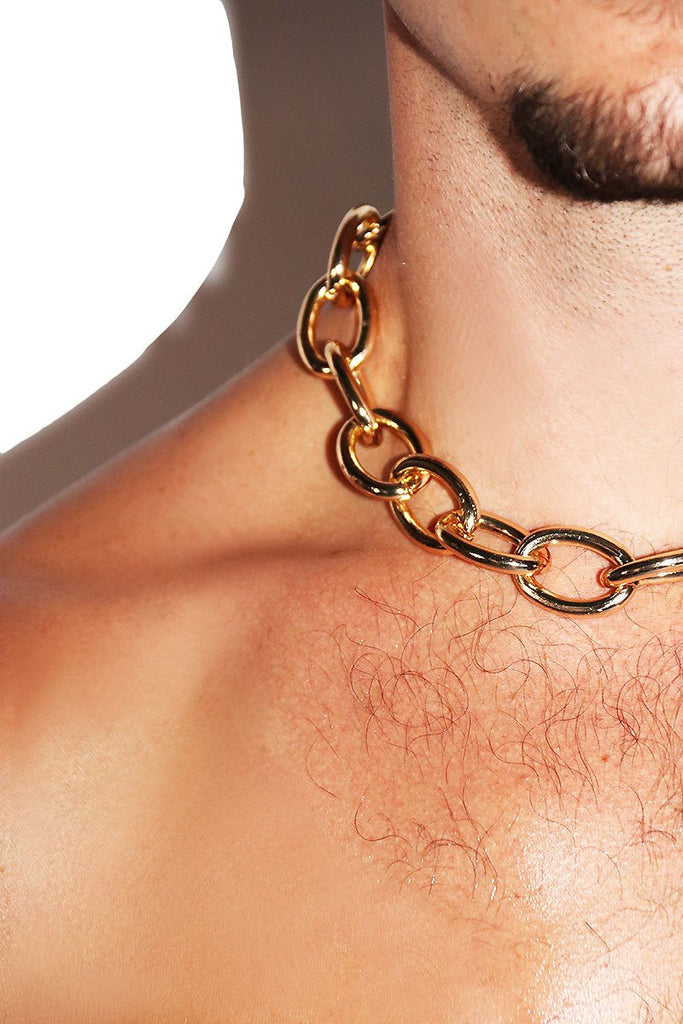 Busted! Chain Choker Necklace- Gold