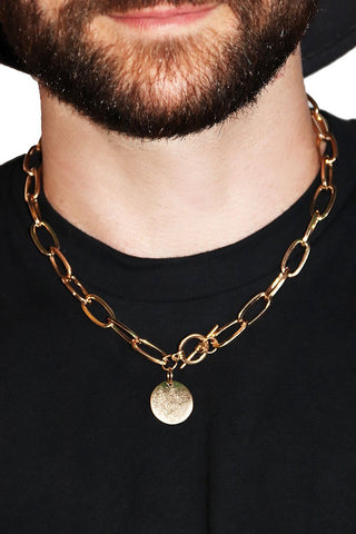 Brushed Coin Chain Necklace- Gold