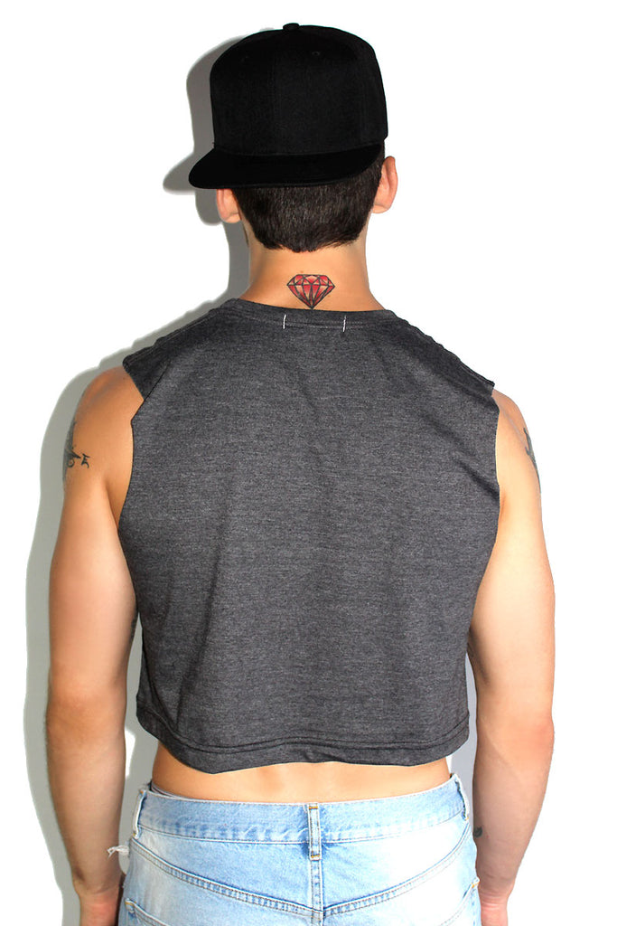 Core Crop Tank-Light Charcoal