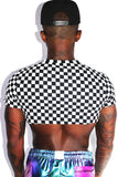 Crazy Eyes Checkerboard Extreme Crop Tee-Black