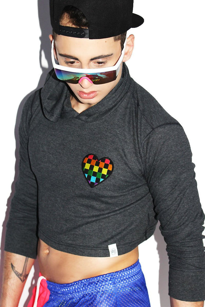 Pride Checkerboard Crop Thermal Hoodie- Dark Charcoal