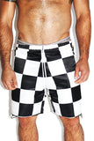 Checkerboard Stripe Long Shorts- Black