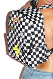 Good Vibes Checkerboard Backpack-Black